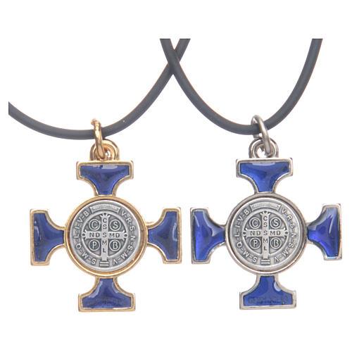 Colar cruz São Bento céltica azul escuro 2,5x2,5 cm 2