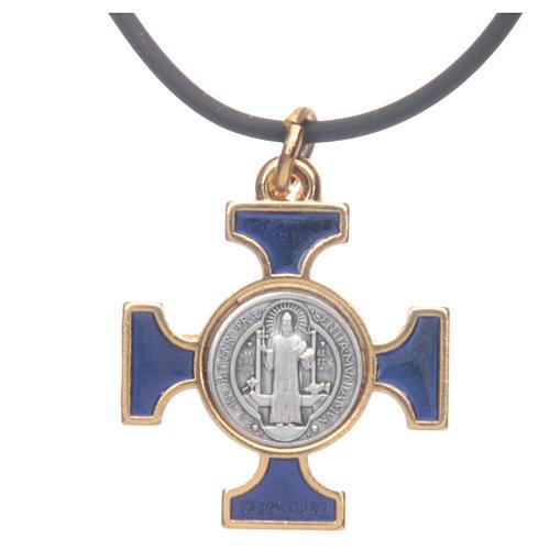 Colar cruz São Bento céltica azul escuro 2,5x2,5 cm 3