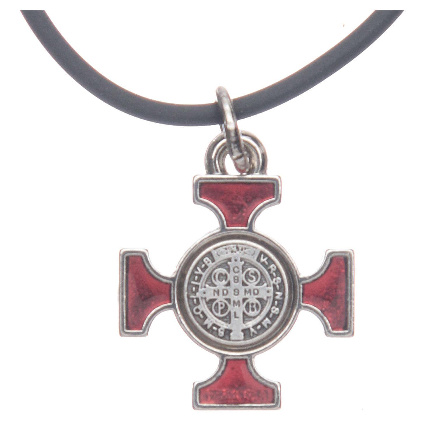 Collana croce San Benedetto celtica rossa 2x2 4
