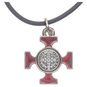 Collana croce San Benedetto celtica rossa 2x2 s4