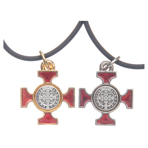 Collana croce San Benedetto celtica rossa 2x2 2