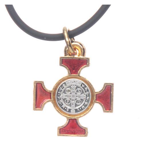 Collana croce San Benedetto celtica rossa 2x2 3