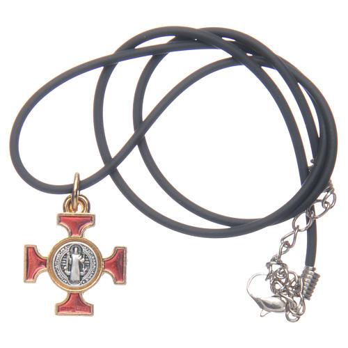 Collana croce San Benedetto celtica rossa 2x2 5