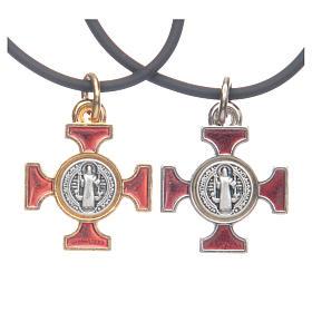 Zawieszki krzyż metal: Naszyjnik krzyż święty Benedykt celtycki czerwony 2 X 2