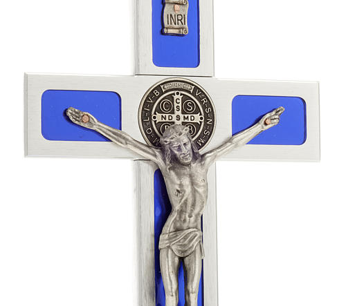 Cruz de mesa de latón con esmalto azul de Jesús 2