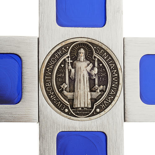 Cruz de mesa de latón con esmalto azul de Jesús 5
