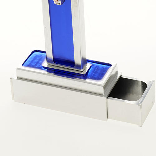 Cruz de mesa de latón con esmalto azul de Jesús 6