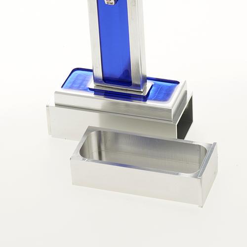 Cruz de mesa de latón con esmalto azul de Jesús 7