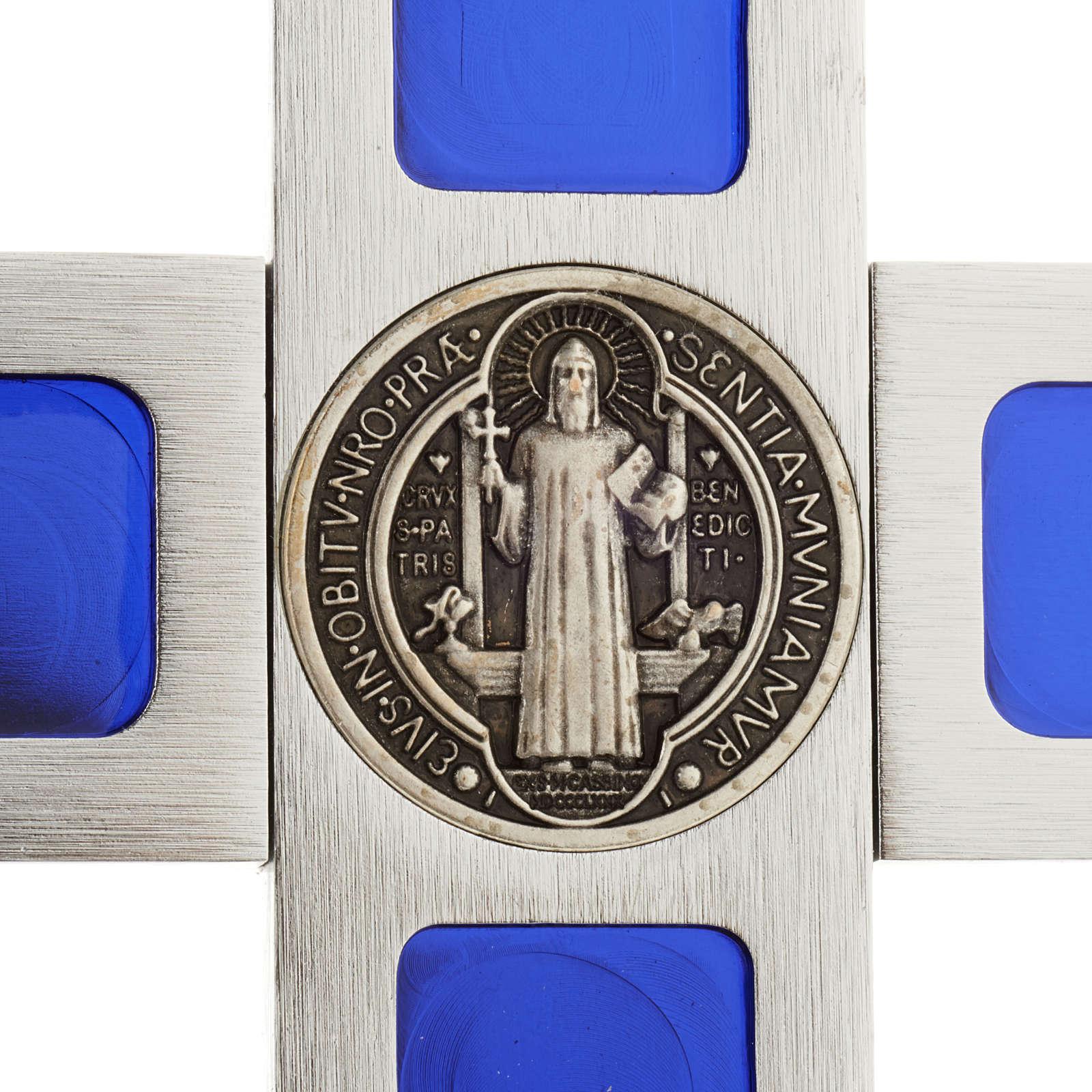 Croce San Benedetto da tavolo ottone smalto blu 4