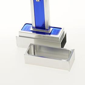 Croce San Benedetto da tavolo ottone smalto blu s7
