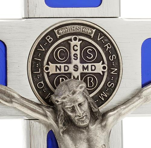 Croce San Benedetto da tavolo ottone smalto blu 3