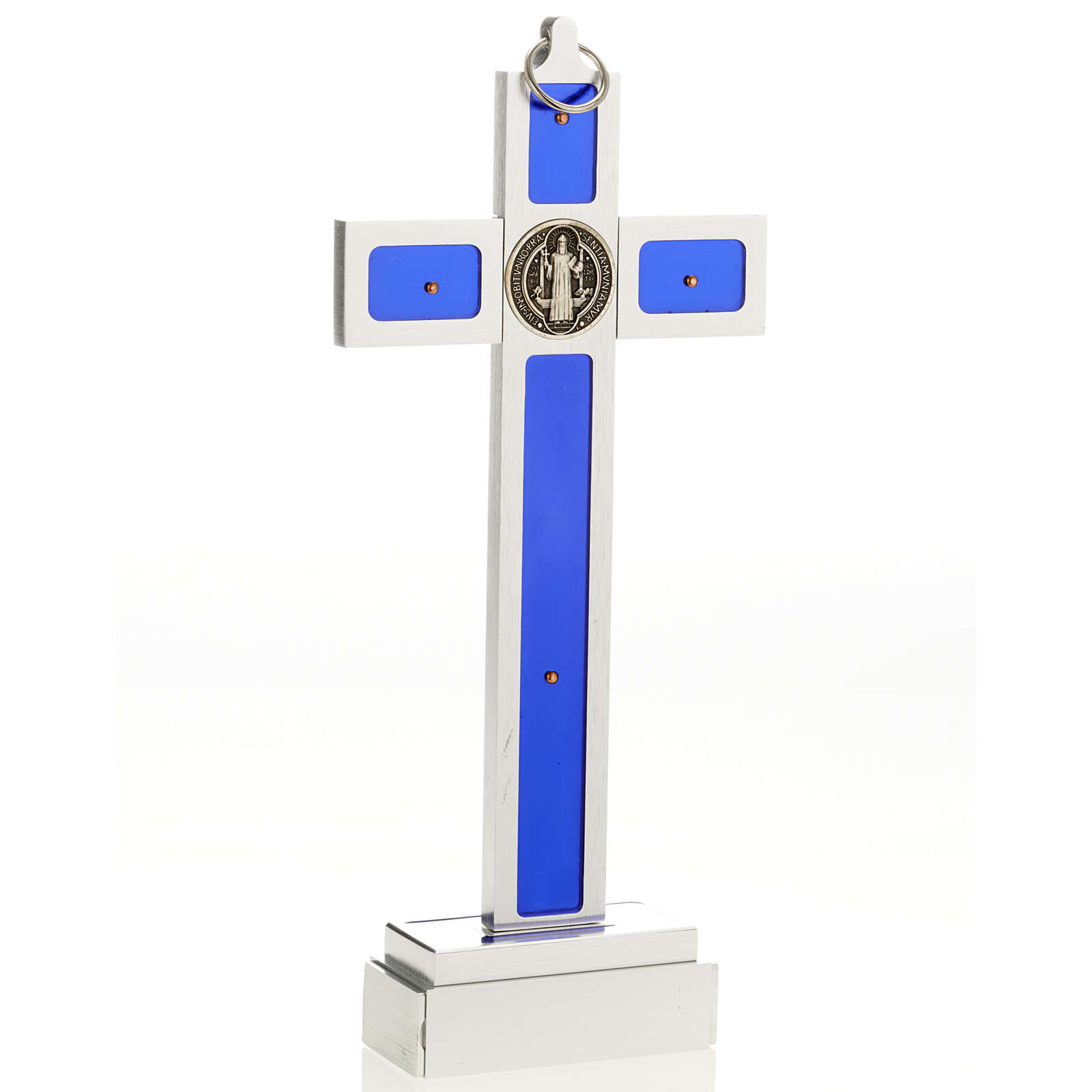 Saint Benedict cross with blue enamel and base 4