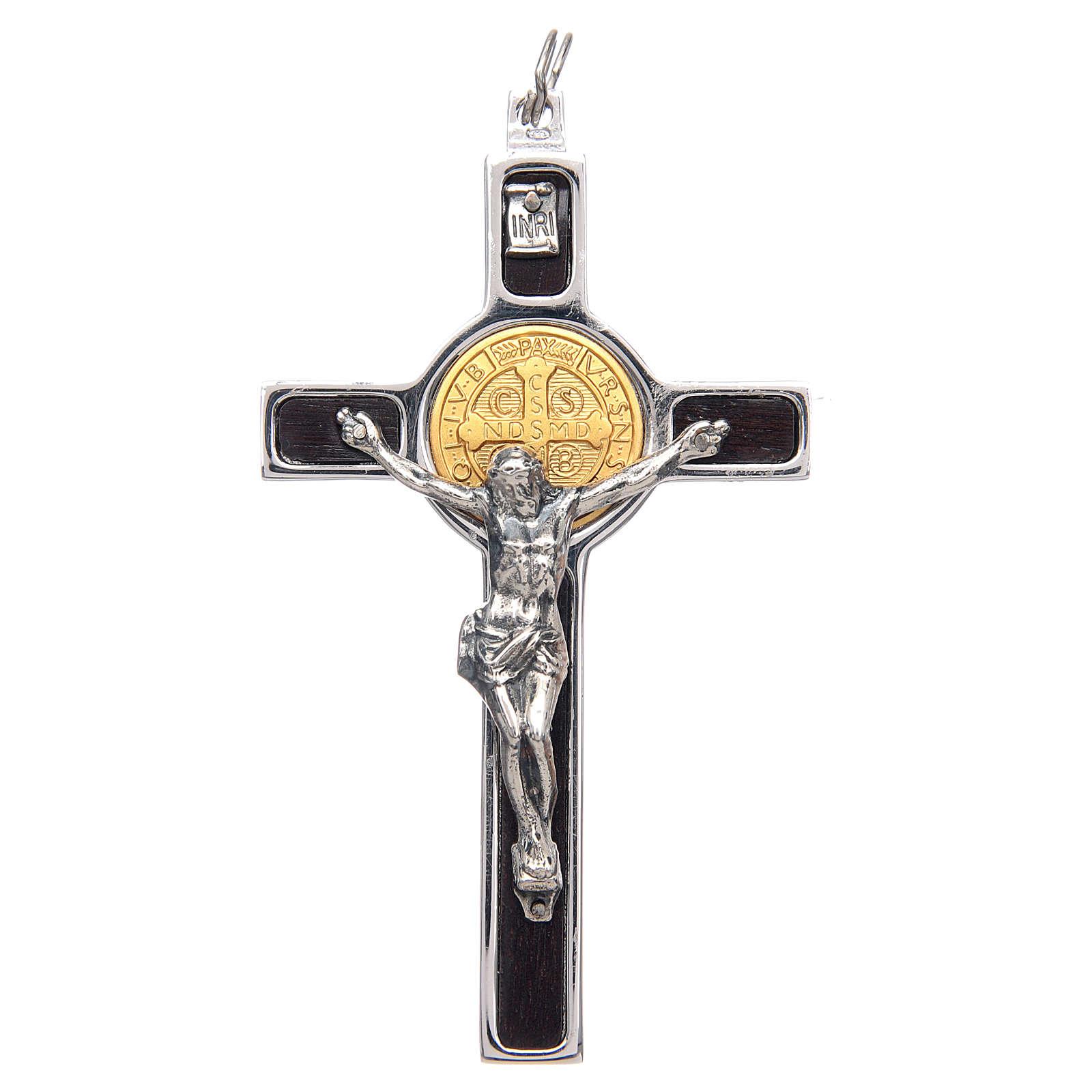 Colgante Cruz San Benito en plata 925 medalla oro 18K 4