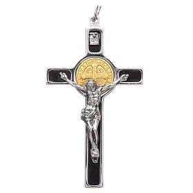 Colgante Cruz San Benito en plata 925 medalla oro 18K s1