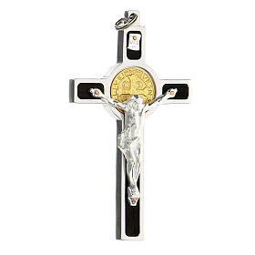 Colgante Cruz San Benito en plata 925 medalla oro 18K s4