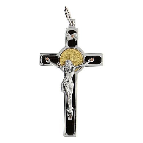 Colgante Cruz San Benito en plata 925 medalla oro 18K 3