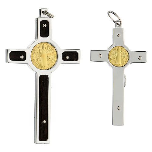 Colgante Cruz San Benito en plata 925 medalla oro 18K 6