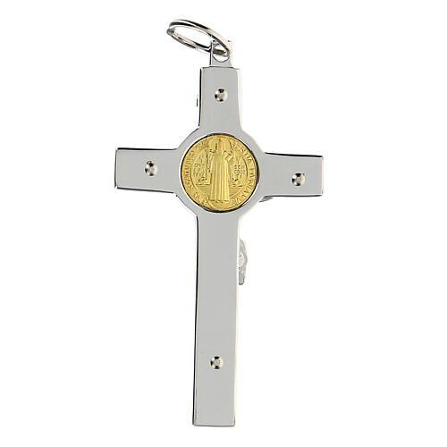 Colgante Cruz San Benito en plata 925 medalla oro 18K 7