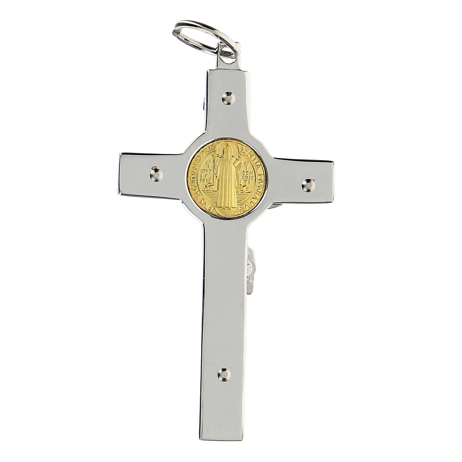Pendente Croce San Benedetto argento 925 medaglia oro 18K 4