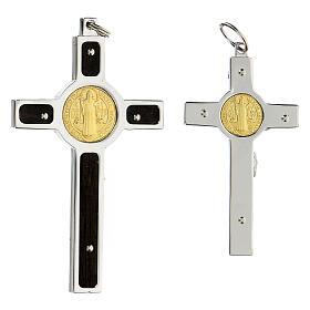 Pendente Croce San Benedetto argento 925 medaglia oro 18K s6