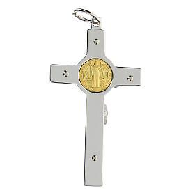 Pendente Croce San Benedetto argento 925 medaglia oro 18K s7