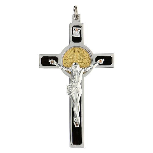 Pendente Croce San Benedetto argento 925 medaglia oro 18K 1