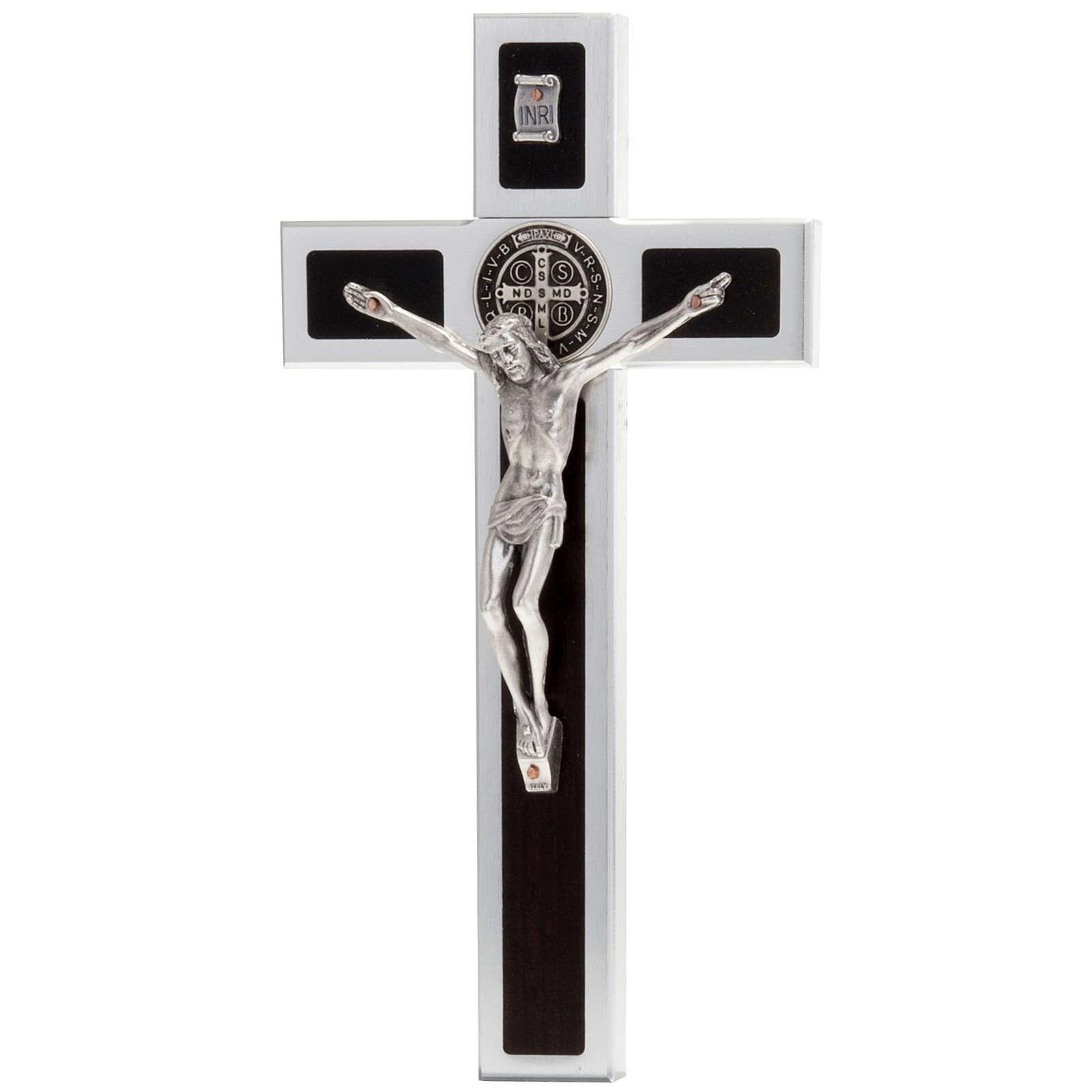 Saint Benedict cross with wood inlays 40x20 4