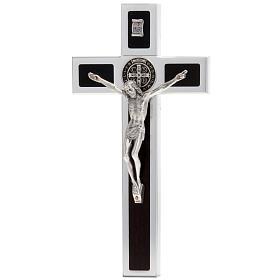 Saint Benedict cross with wood inlays 40x20 s1