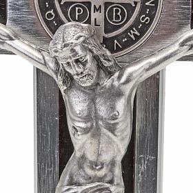Saint Benedict cross with wood inlays 40x20 s4