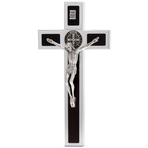 Saint Benedict cross with wood inlays 40x20 1