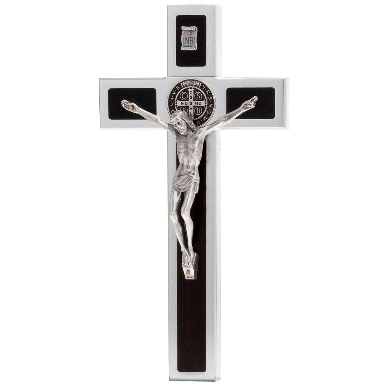 Saint Benedict cross with wood inlays 40x20 4
