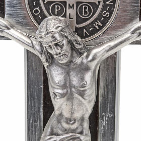 Saint Benedict cross with wood inlays 40x20 s4