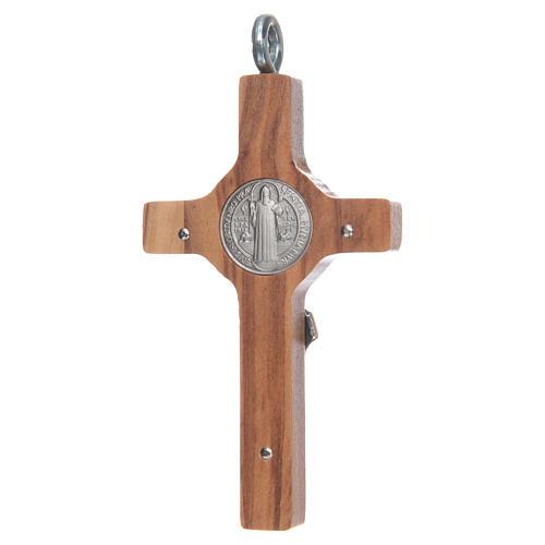 Kreuz Sankt Benedikt Silber Olivenholz und Schnur, 8x4 cm