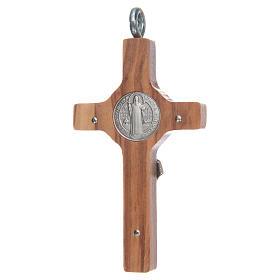 Croix pendentif Saint Benoît 8x4 cm argent 925 et olivier s2