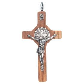 Croce San Benedetto 8x4 cm argento 925 croce olivo con corda s1
