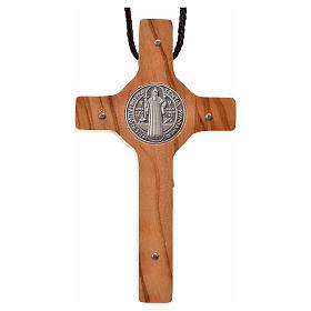 Croce San Benedetto 8x4 cm argento 925 croce olivo con corda s3