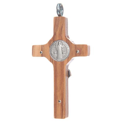 Croce San Benedetto 8x4 cm argento 925 croce olivo con corda 2