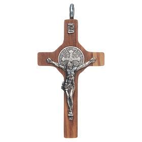 Krzyż świętego Benedykta 8 X 4cm srebro 925 , drewano oliwkkowe ze sznurkiem s1
