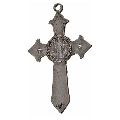 Krzyż świętego Benedykta 7 X 4cm , zama , biała emalia 2