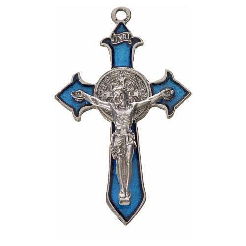 Croix Saint Benoît avec pointes 7x4 cm zamac émail bleu 3