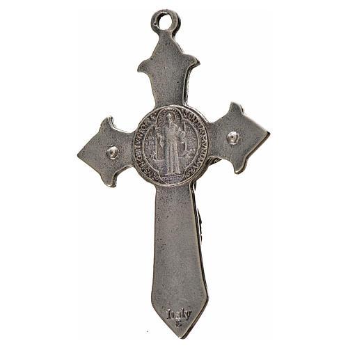 Kreuz Sankt Benedikt Zamak-Legierung und schwarzes Email 7x4 cm