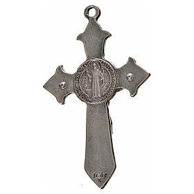 St. Benedict cross 7x4cm, pointed, in zamak and black enamel s2
