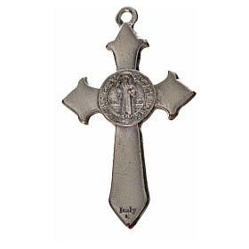 St. Benedict cross 4.5x3cm, pointed, in zamak and white enamel s4