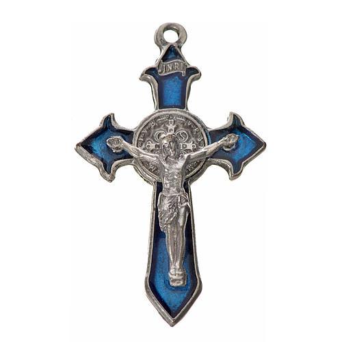 Kreuz Sankt Benedikt Zamak-Legierung und blaues Email 4,5x3 cm