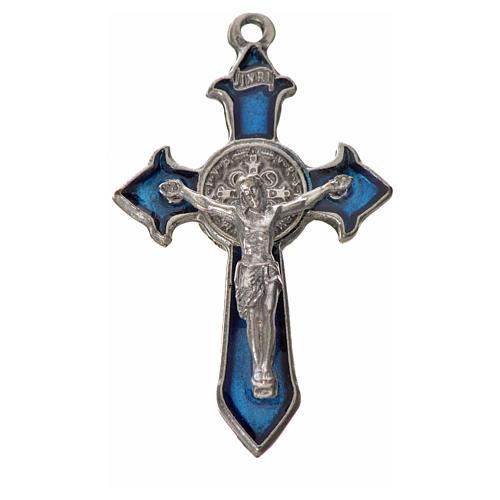 Croce San Benedetto cm 4,5x3 punte zama smalto blu 3