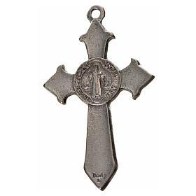 St. Benedict cross 4.5x3cm, pointed, in zamak and blue enamel s4