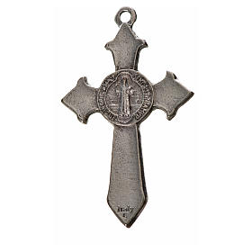 St. Benedict cross 4.5x3cm, pointed, in zamak and black enamel s2