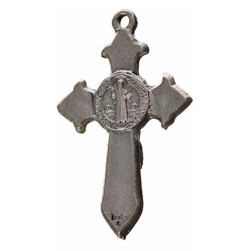 Kreuz Sankt Benedikt Zamak-Legierung und blaues Email 3,5x2,2 cm