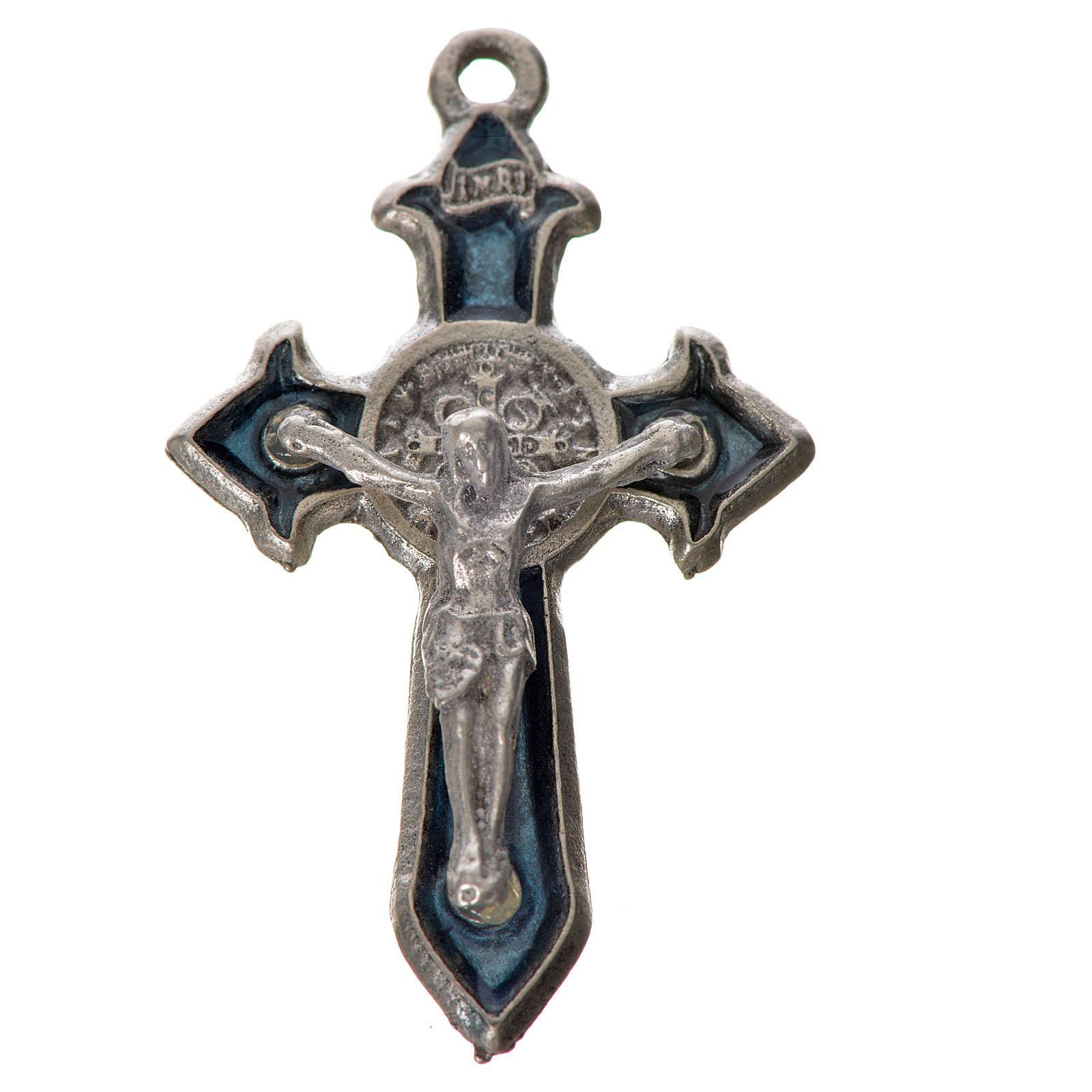 Croce San Benedetto cm 3,5x2,2 punte zama smalto blu 4