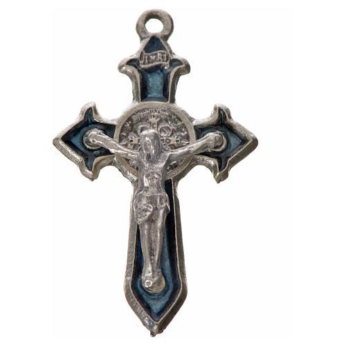 Croce San Benedetto cm 3,5x2,2 punte zama smalto blu 3